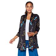 Slinky® Brand 3/4-Sleeve Shawl-Collar Printed Duster