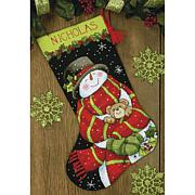"Snowman and Bear 16"" Stocking Needlepoint Kit"