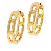 Soave Oro 14K Gold Electroform Polished Link-Design Hoop Earrings