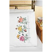 Stamped Embroidered Rose Garden Pillowcase Pair
