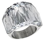 Stately Steel Domed Crystal Band Ring