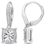 Sterling Silver 0.18ctw Diamond Square Leverback Earrings