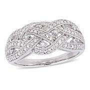 Sterling Silver 0.25ctw White Diamond Pavé Entwined Ring