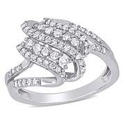 Sterling Silver 0.50ctw Diamond Pavé Spiral Ring