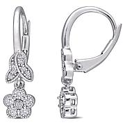 Sterling Silver .32ctw Diamond Floral Leverback Drop Earrings