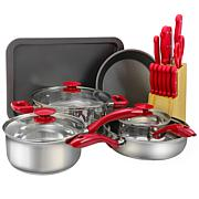 Sunbeam Crawford 22 piece Cookware Combo Set in Red with Bakelite H...
