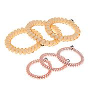 Teleties Set of 6 Hair Ties - Almond Beige and Pink Metallic