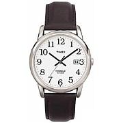 Timex Men's Silvertone EZ-Reader Black Leather Strap Watch