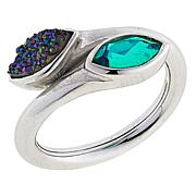 Traveler's Journey Green Agate and Drusy Quartz Doublet Bypass Ring