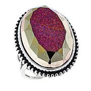 Traveler's Journey Window Drusy Rose Agate Sterling Silver Ring
