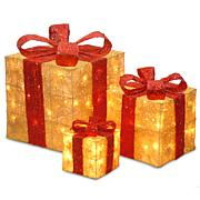 "Winter Lane 6""/10""/14"" Assorted Gold Sisal Gift Boxes"
