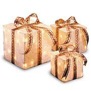 "Winter Lane 6""/8""/10"" Assorted White Sisal Gift Boxes"