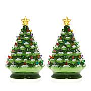 Winter Lane Set of 2 Lighted Musical Ceramic Christmas Trees