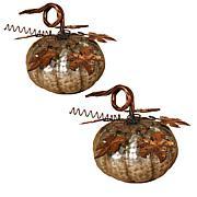"""Winter Lane Set of 2 Metal Pumpkins - 7"""""""