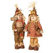 Winter Lane Set of 2 Plush Scarecrow Figurines