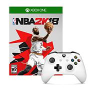 Xbox One White Wireless Controller with NBA 2K18 Game