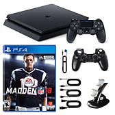 """PS4 Slim 1TB Console w/Sleeve, Dock and """"Madden NFL 18"""""""