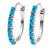 Sterling Silver Turquoise Bead and Blue Topaz Hoop Earrings
