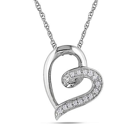 005ctw white diamond open heart pendant with 10k white gold 17 005ctw white diamond heart pendant with 10k gold chain aloadofball Images