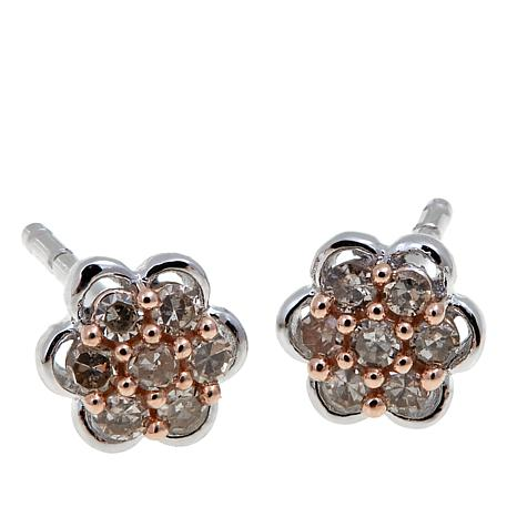 cluster sterling diamond colored products stud earrings silver d