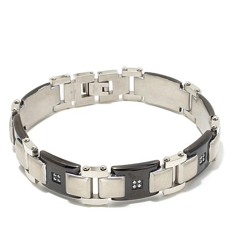 0.23ctw Diamond-Accent Men's Alternating-Link Bracelet