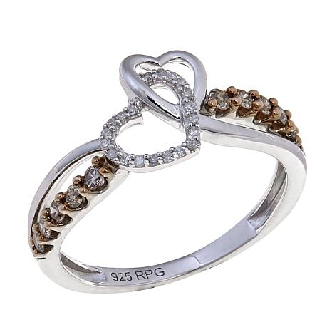 0.25ctw White and Champagne Diamond Double Heart Ring