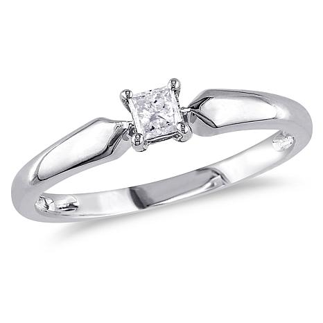 0.2ct Princess-Cut White Diamond 10K Solitaire Ring