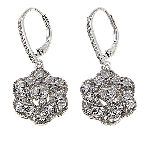 0.2ctw White Diamond Sterling Silver Floral Drop Earrings