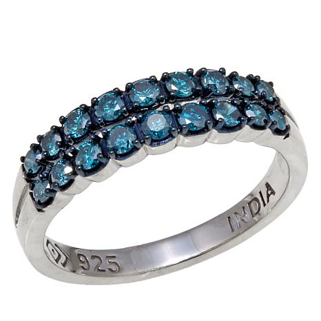 0.5ctw  2-Row Colored Diamond Sterling Silver Band Ring