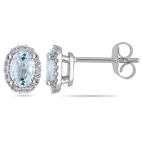 0 88ctw Aquamarine White Diamond Oval 14k Earrings