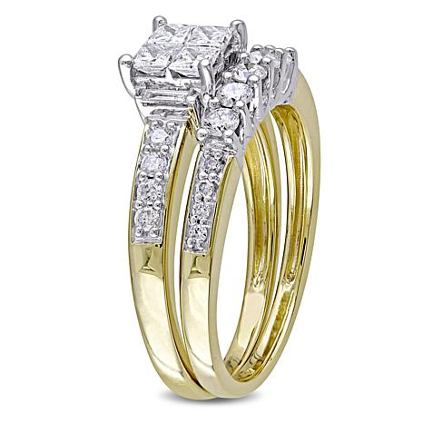 0 95ctw Princess Cut Multishaped Engagement Ring And Wedding Band