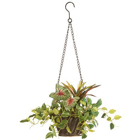"10"" Assorted Greens Artificial Hanging Basket"