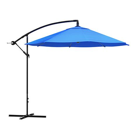 10' Hanging Cantilever Patio Umbrella with Easy Crank - Brilliant Blue