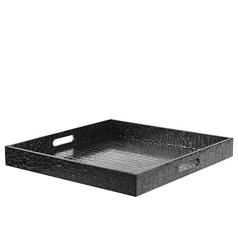 "10 Strawberry Street Gator 15"" Square Tray - Black"