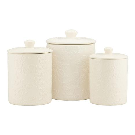 10 Strawberry Street Rose Embossed 3-piece Canister Set - White