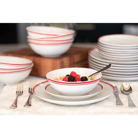 10 Strawberry Street Simply Coupe 24 Piece Dinnerware Set Black