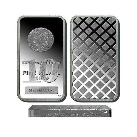 10 Troy oz. 99.9% Silver Bar with Morgan Dollar Design