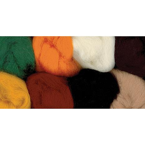 100% Wool Roving 8-Pack - Yellow, Brown, Orange, White, Black, Gree...