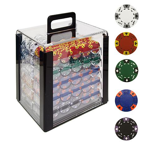 1000 Tri-Color Ace/King Clay Poker Chips with Case