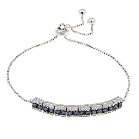 1.0ctw Colored and White Diamond Adjustable Sterling Silver Bracelet