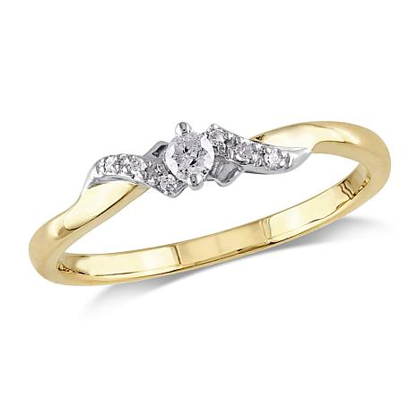 10K Gold 2-Tone 0.1ctw Diamond Swirled Band Ring