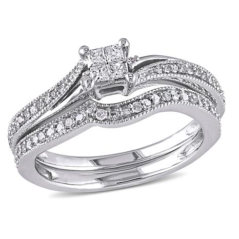 10K White 0.26ctw Princess and Round Diamond Bridal Set