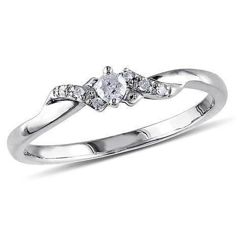 10K White Gold 0.1ctw White Diamond Criss-Cross Ring
