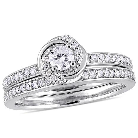 10K White Gold 0.50ctw Diamond Bridal Set Ring