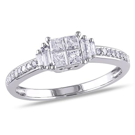 10K White Gold 0.5ctw Multi-Shape White Diamond Ring