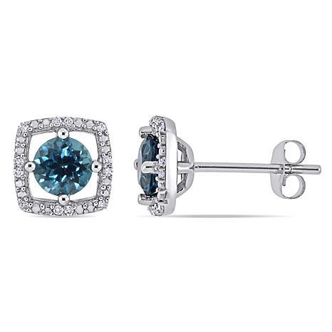 10K White Gold 1.19ctw London Blue Topaz and Diamond Halo Earrings