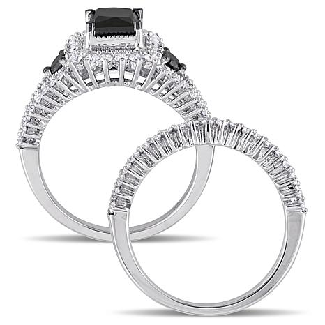 10K White Gold 18ctw Black And White Diamond Engagement Ring And Wedding Band