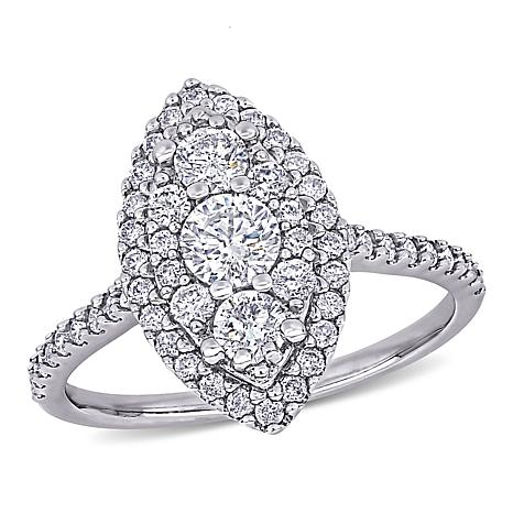 10K White Gold 1ctw Diamond Marquise Pavé Engagement Ring