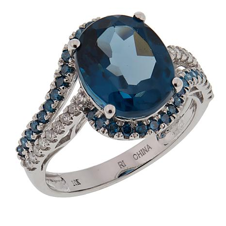 10K White Gold 4.99ctw Blue Topaz and Blue and White Diamond Ring