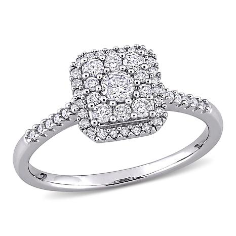10K White Gold .5ctw Diamond Square Cluster Halo Engagement Ring
